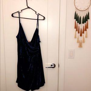 Blue velvet romper dress